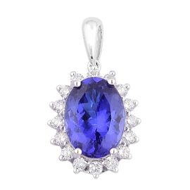 ILIANA 18K W Gold AAA Tanzanite (Ovl 4.00 Ct), Diamond Pendant 4.500 Ct.