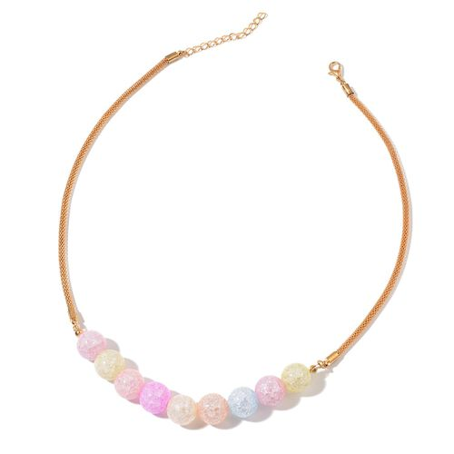 Multi Colour Glass and Simulated White Diamond Necklace (Size 20 with 2 inch Extender) and Earrings (with Push Back) in Gold Tone
