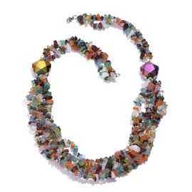 Mozambique Garnet, Amethyst, Carnelian, Rose Quartz, Hebei Peridot, Paraibe Apatite, Green Aventurine and Simulated Diamond Necklace (Size 19) in Silver Tone with Stainless Steel 305.010 Ct.