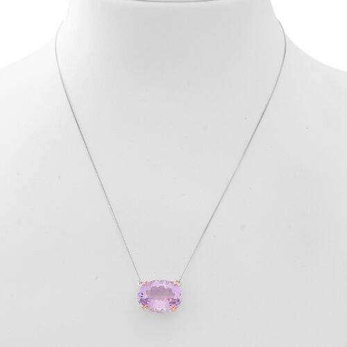 AAA Rose De France Amethyst (Ovl) Necklace (Size 18) in Rhodium and Rose Gold Overlay Sterling Silver 17.250 Ct.