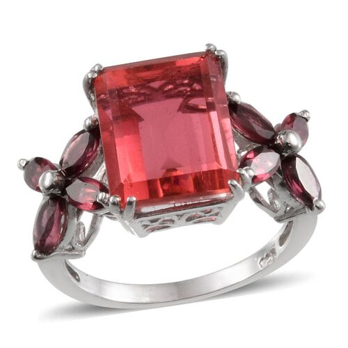 Padparadscha Colour Quartz (Oct 6.25 Ct), Rhodolite Garnet Ring in Platinum Overlay Sterling Silver 7.750 Ct.