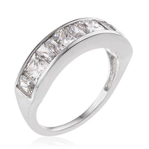 9K W Gold (Sqr) Half Eternity Band Ring Made with SWAROVSKI ZIRCONIA 2.110 Ct.