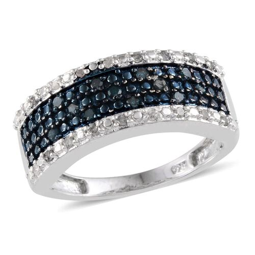 Blue Diamond (Rnd), White Diamond Ring in Platinum Overlay Sterling Silver 0.250 Ct.