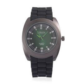 STRADA Japanese Movement Green Dial Water Resistant Watch in Black Tone with Stainless Steel Back and Black Silicone Strap