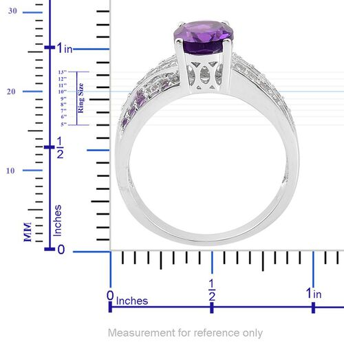 African Amethyst (Ovl 1.75 Ct), White Zircon Ring in Platinum Overlay Sterling Silver 2.350 Ct.