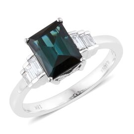 ILIANA 18K White Gold 2.14 Carat AAA Monte Belo Indicolite Octagon Ring With Diamond SI G-H