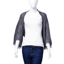 Designer Inspired Grey Colour Check Pattern Poncho (Size 130x25 Cm)