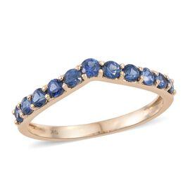 9K Yellow Gold 2 Carat Ceylon Blue Sapphire Wishbone Ring.