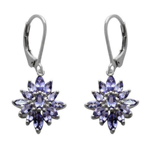 Starlight AA Tanzanite (Mrq) Lever Back Earrings in Platinum Overlay Sterling Silver 2.280 Ct.