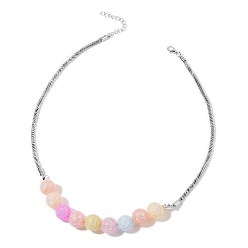Multi Colour Glass and Simulated White Diamond Necklace (Size 20 with 2 inch Extender) and Earrings (with Push Back) in Silver Tone