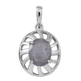 Natural Silver Sapphire (Ovl) Solitaire Pendant in Rhodium Plated Sterling Silver 5.000 Ct.