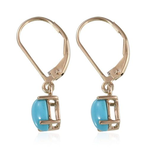 9K Y Gold Arizona Sleeping Beauty Turquoise (Ovl) Lever Back Earrings 1.650 Ct.