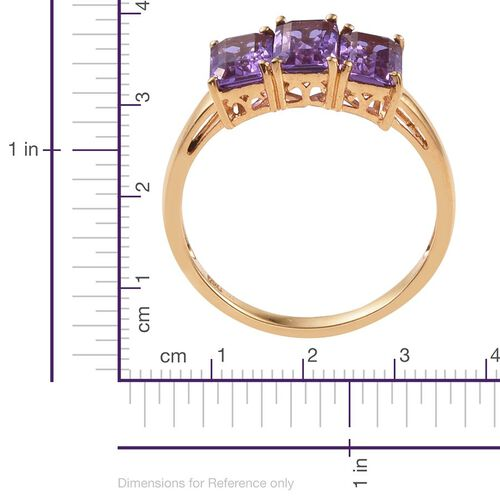 Lavender Alexite (Oct) Trilogy Ring in 14K Gold Overlay Sterling Silver 2.500 Ct.