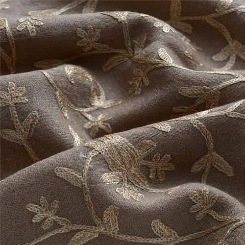 100%  Merino Wool Floral and Paisley Pattern Embroidered Beige Colour Scarf (Size 180x65 Cm)