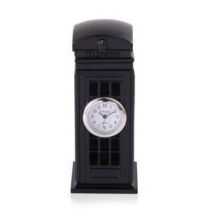 Home Decor - STRADA Japanese Movement White Dial Black Telephone Box Design Clock in Silver Tone