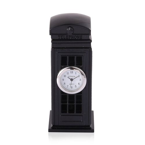 (Option 2) Home Decor - STRADA Japanese Movement White Dial Black Telephone Booth Design Clock in Silver Tone