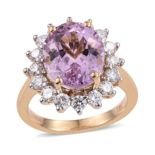 ILIANA 18K Y Gold AAAA Kunzite (Ovl 5.50 Ct), Diamond Ring 6.500 Ct.