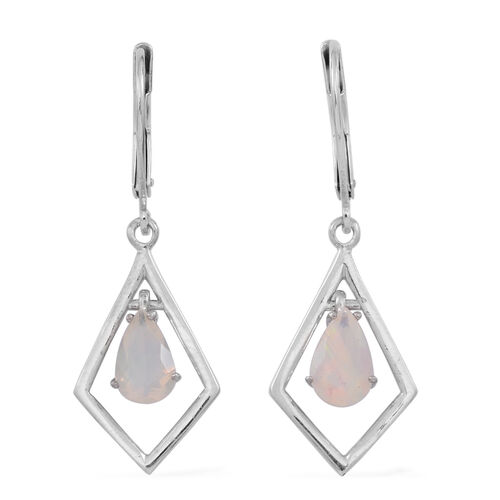 Ethiopian Welo Opal (Pear) Lever Back Earrings in Rhodium Plated Sterling Silver 1.000 Ct.