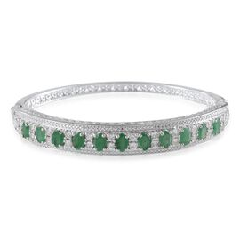 Kagem Zambian Emerald (Ovl), White Topaz Bangle (Size 7.5) in Platinum Overlay Sterling Silver 7.250 Ct.