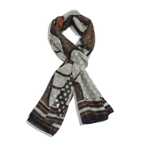 100% Mulberry Silk Chocolate, Black and Multi Colour Printed Scarf (Size 180x100 Cm)