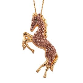Natural Champagne Diamond (Rnd) Horse Pendant with Chain in 14K Gold Overlay Sterling Silver