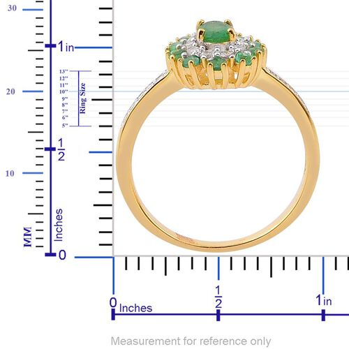 Brazilian Emerald (Ovl), White Zircon Ring in Yellow Gold Overlay Sterling Silver 1.260 Ct.