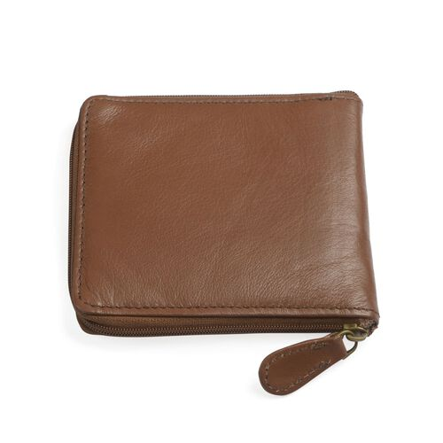 RFID Blocker Zip-up Tan Colour 4 Card Holder