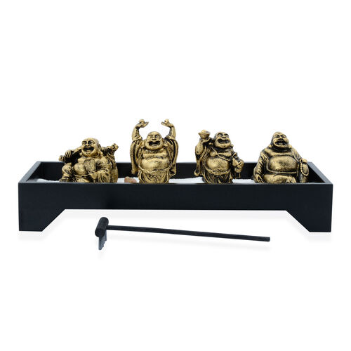 Home Decor - Golden Colour Resin Four Laughing Buddha with Sand and Stones in Rectangle Shape Base with Wodden Zen Rake