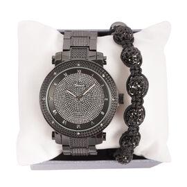 GENOA Japanese Movement White Austrian Crystal Watch with Black Austrian Crystal and Hematite Adjustable Bracelet