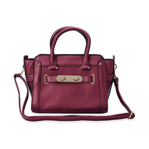 Fuchsia Colour Tote Bag with External Zipper Pocket and Adjustable and Removable Shoulder Strap (Size 32x22x9 Cm)