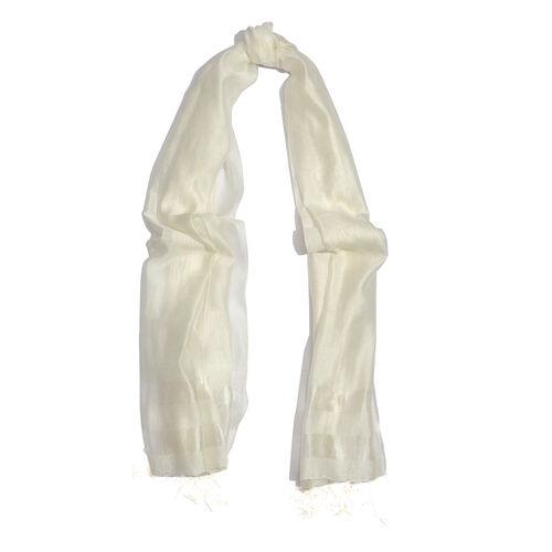 30% Silk and 70% Viscose White Colour Shawl (Size 180x70 Cm)