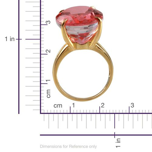 Padparadscha Colour Quartz (Ovl) Solitaire Ring in 14K Gold Overlay Sterling Silver 33.250 Ct.