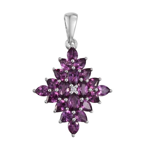 Rare Mozambique Grape Colour Garnet (Ovl), Natural Cambodian Zircon Pendant in Platinum Overlay Sterling Silver 4.500 Ct.