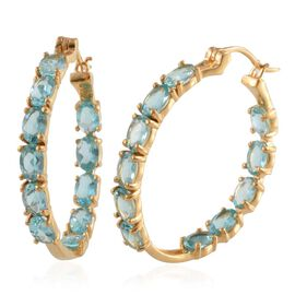 AA Paraibe Apatite (Ovl) Hoop Earrings (with Clasp) in 14K Gold Overlay Sterling Silver 10.500 Ct.