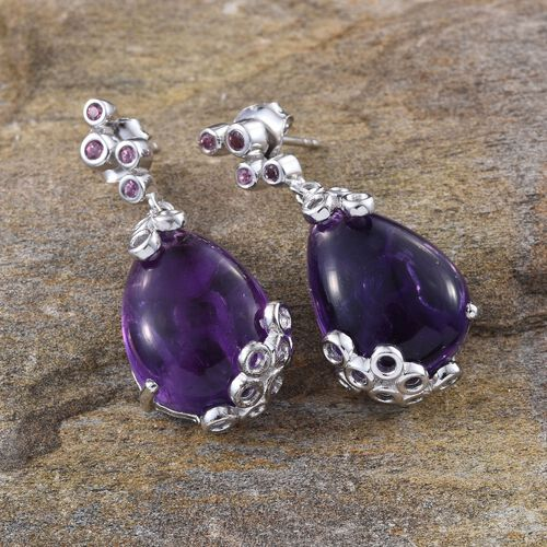 GP Amethyst (Pear), Rhodolite Garnet and Kanchanaburi Blue Sapphire Earrings in Platinum Overlay Sterling Silver 21.000 Ct.