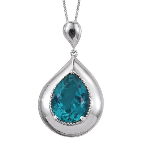 Capri Blue Quartz (Pear) Solitaire Pendant With Chain in Platinum Overlay Sterling Silver 9.000 Ct.
