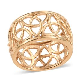 14K Gold Overlay Sterling Silver Band Ring, Silver wt 3.99 Gms.