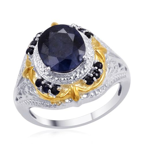Designer Collection Diffused Blue Sapphire (Ovl 4.50 Ct), Kanchanaburi Blue Sapphire Ring in 14K YG and Platinum Overlay Sterling Silver 4.955 Ct.