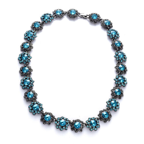 Simulated Blue Sapphire, Blue Austrian Crystal Necklace (Size 18) in Black Tone