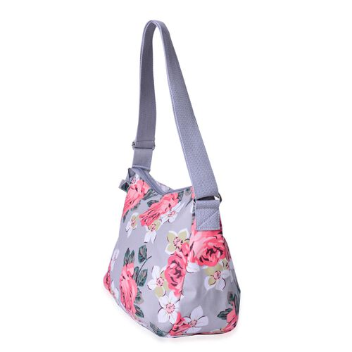 Floral Pattern Light Grey and Multi Colour Crossbody Bag with Adjustable Shoulder Strap (Size 33X26X12 Cm)