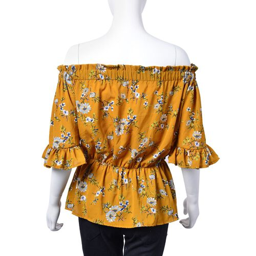 Yellow and Multi Colour Floral Pattern Peplum Top (Small-Medium  Size 40X50 Cm)