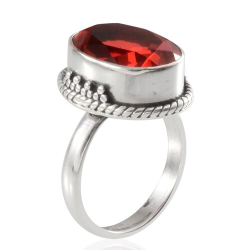 Padparadscha Colour Quartz (Ovl) Solitaire Ring in Sterling Silver 9.080 Ct.