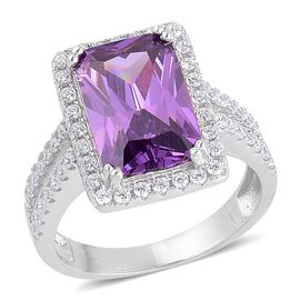 ELANZA AAA Simulated Amethyst and Simulated White Diamond Ring in Rhodium Plated Sterling Silver