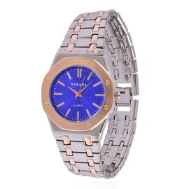 Designer Inspired STRADA Blue Dial Water Resistant Watch in Silver and Rose Gold Tone with a Gift Packing Box