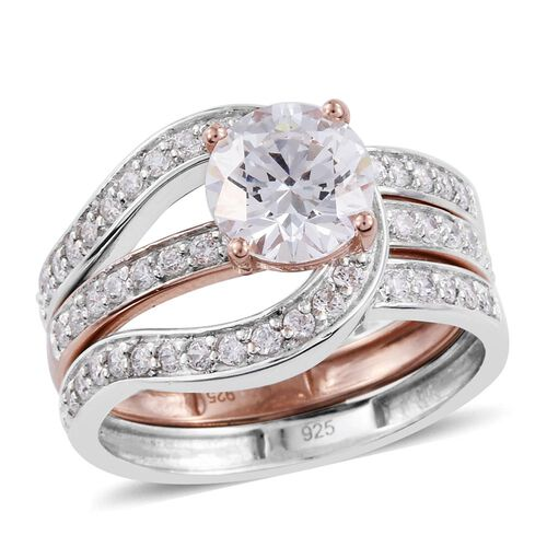 J Francis - Platinum and Rose Gold Overlay Sterling Silver (Rnd) 2 Ring Set Made with SWAROVSKI ZIRCONIA