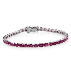 9K White Gold 9.25 Carat AAA Burmese Ruby Tennis Bracelet (Size 7.5)