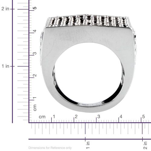 Boi Ploi Black Spinel (Rnd) Cluster Ring in Platinum Overlay Sterling Silver 2.250 Ct.
