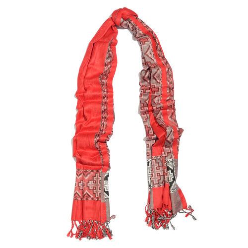 Red Colour Jacqaurd Scarf with Fringes (Size 200x70 Cm)