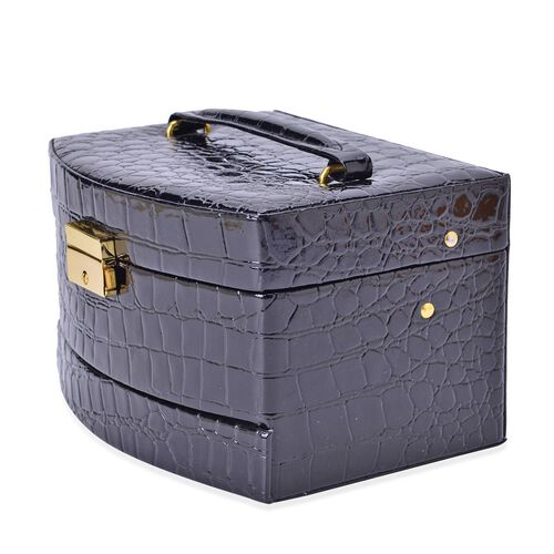 Black Colour Croc Embossed 3 Layer Jewellery Box with Mirror inside (Size 18x14x11 Cm)