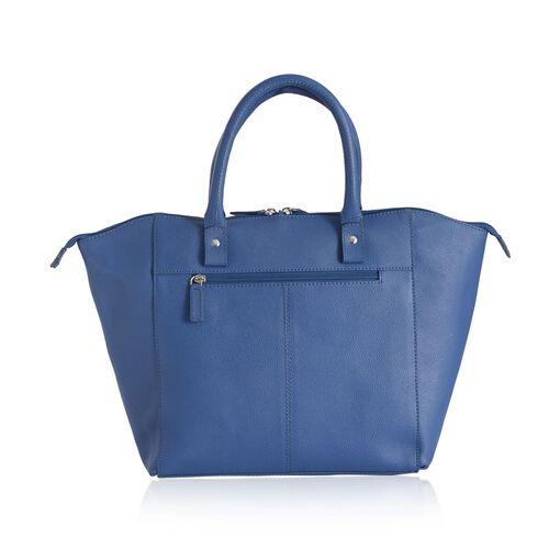 Genuine Leather Blue Colour Tote Bag with External Zipper Pocket (Size 42x29 Cm)
